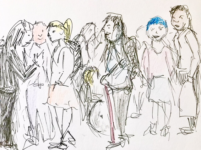 Line drawing of students in a group